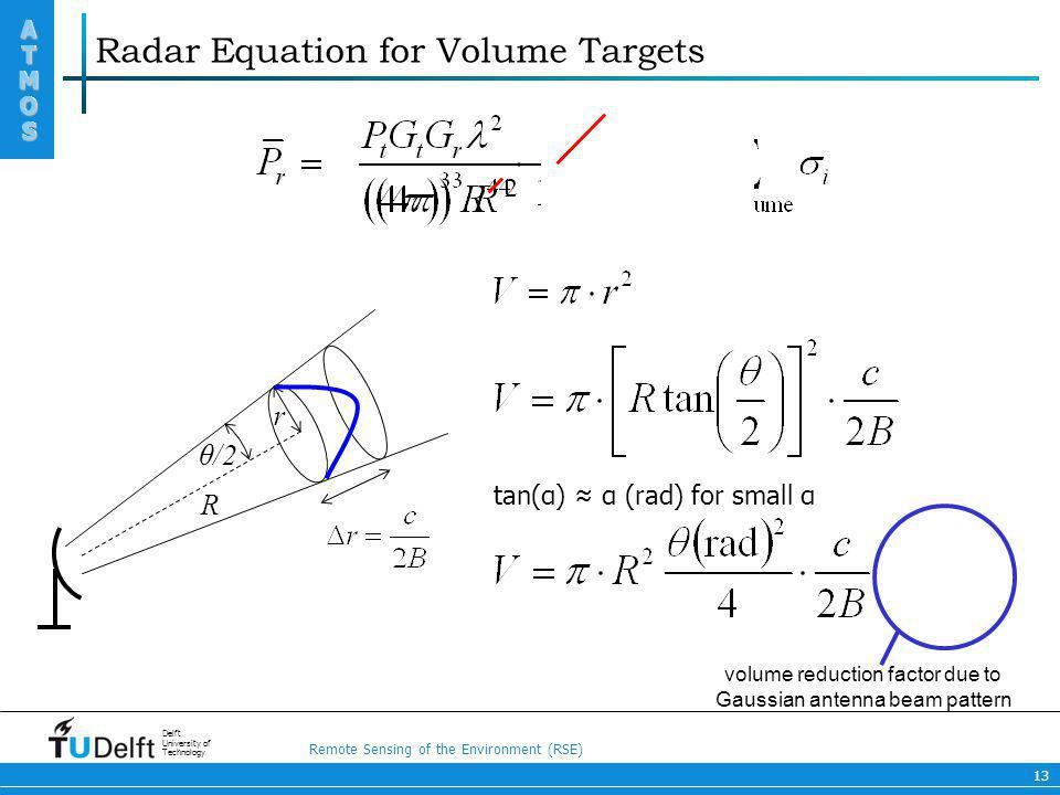 Radar Equation for Volume Targets