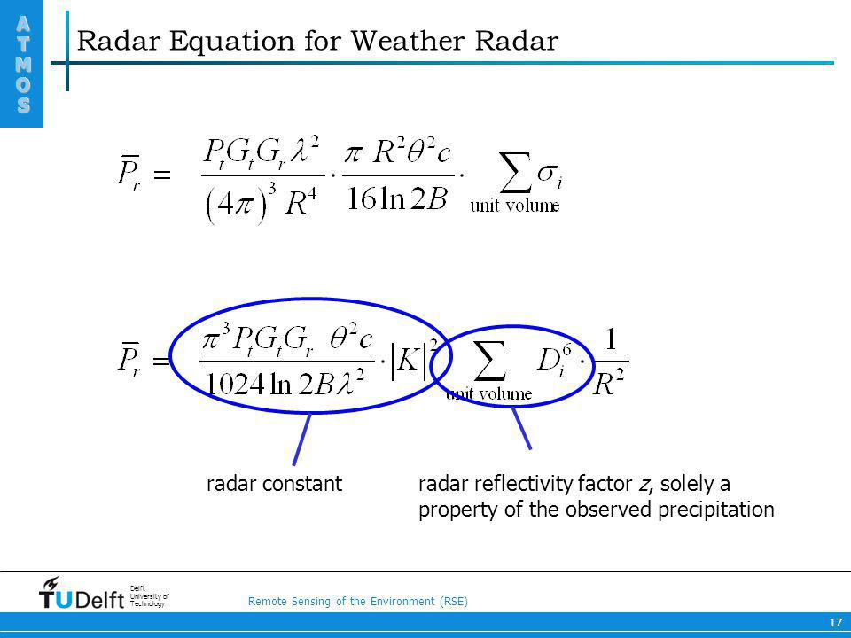 Radar Equation for Weather Radar
