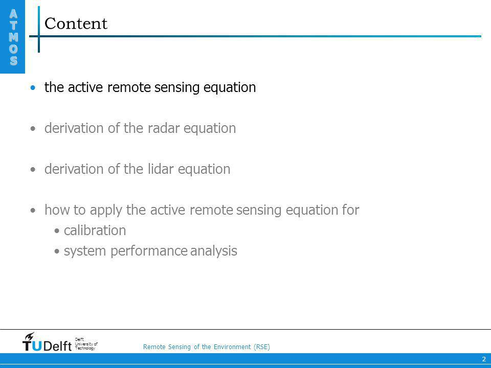 Content the active remote sensing equation
