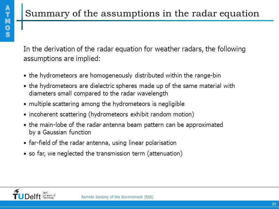 Summary of the assumptions in the radar equation