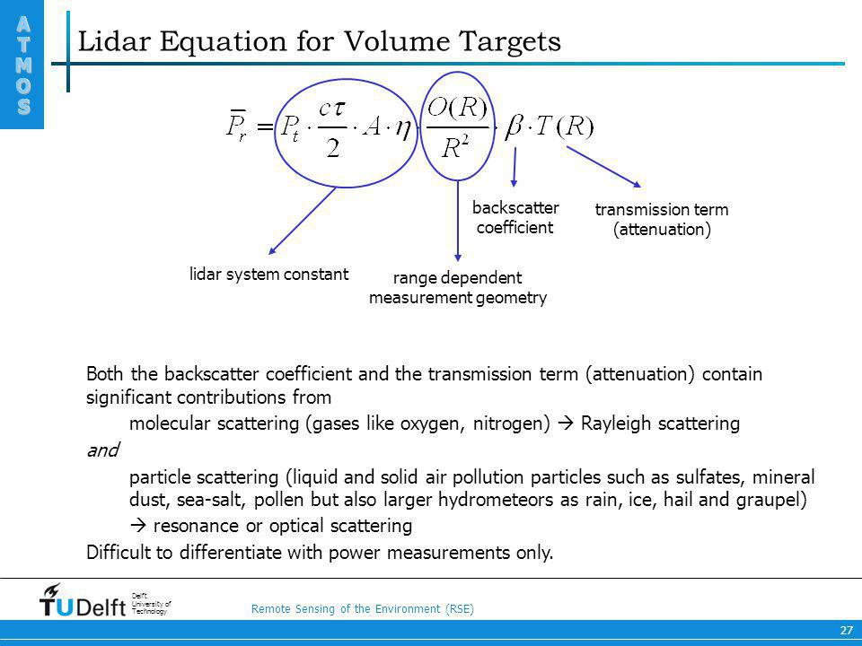 Lidar Equation for Volume Targets