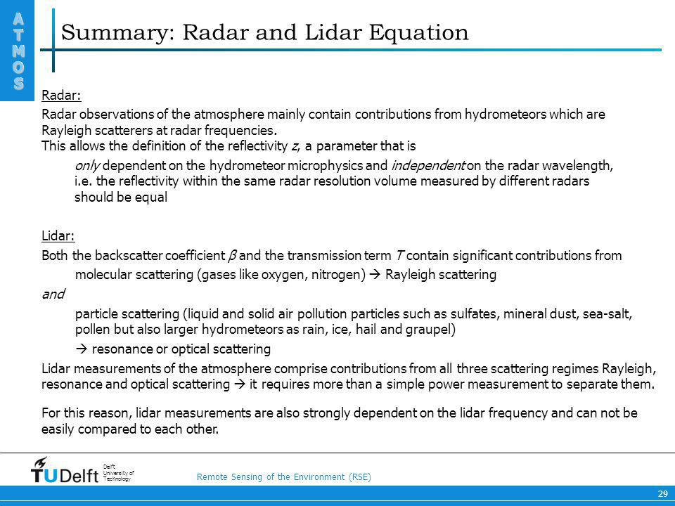 Summary: Radar and Lidar Equation