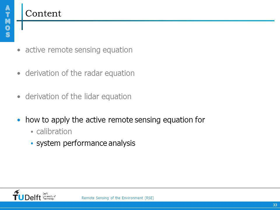 Content active remote sensing equation