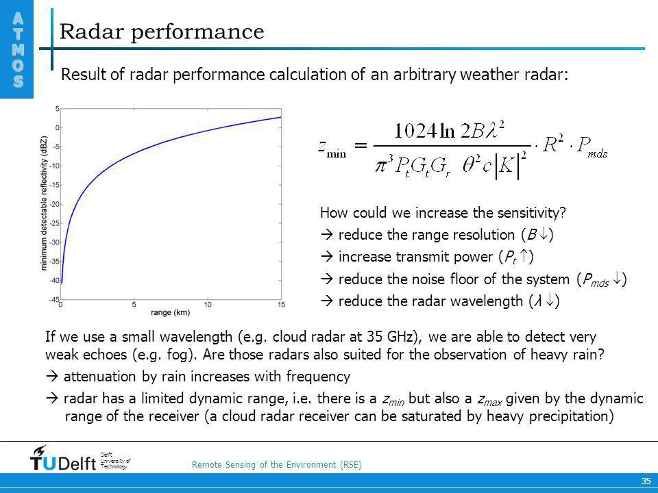 Radar performance Result of radar performance calculation of an arbitrary weather radar: How could we increase the sensitivity
