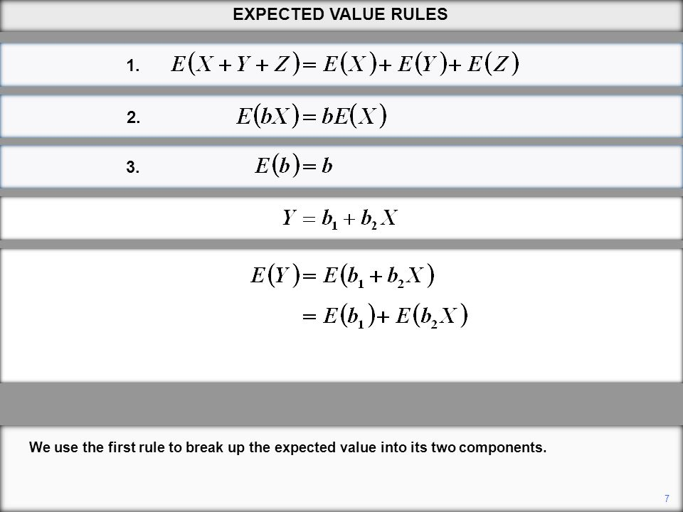 EXPECTED VALUE RULES 1. 2. 3. We use the first rule to break up the expected value into its two components.