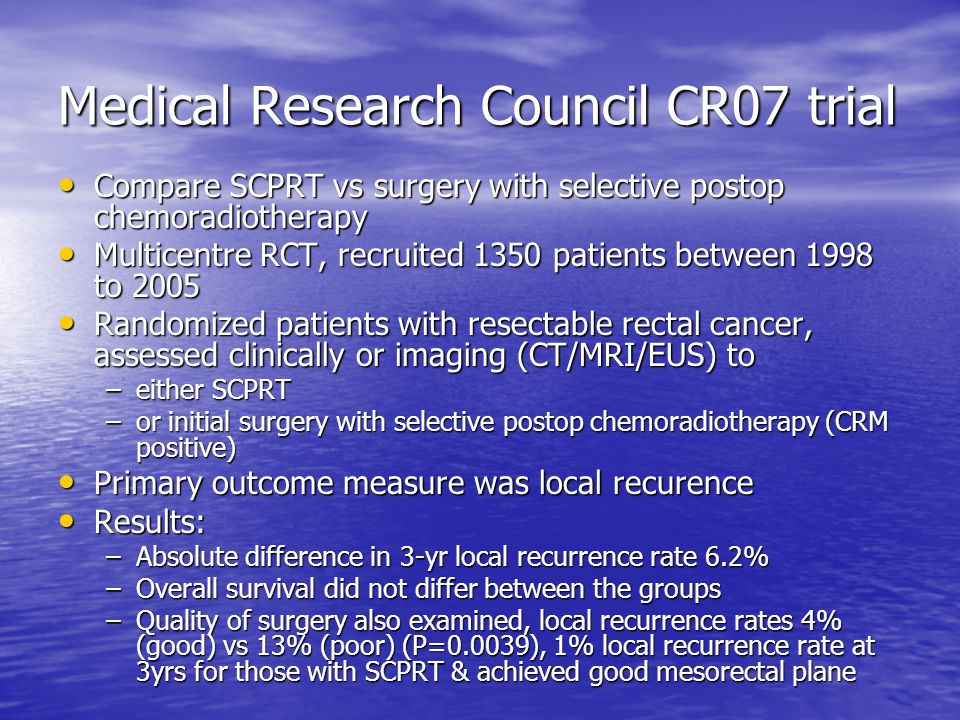 Medical Research Council CR07 trial