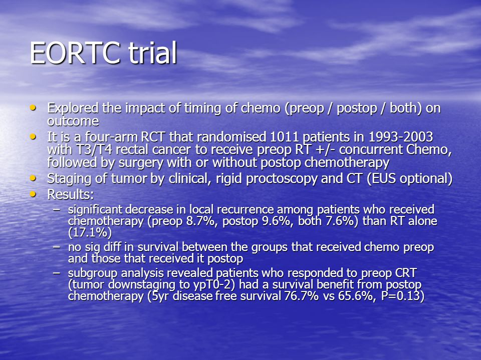 EORTC trial Explored the impact of timing of chemo (preop / postop / both) on outcome.