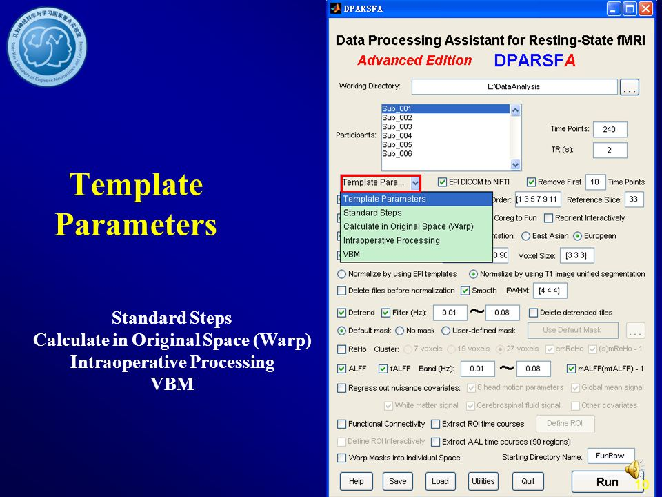 Template Parameters Standard Steps Calculate in Original Space (Warp) Intraoperative Processing VBM.