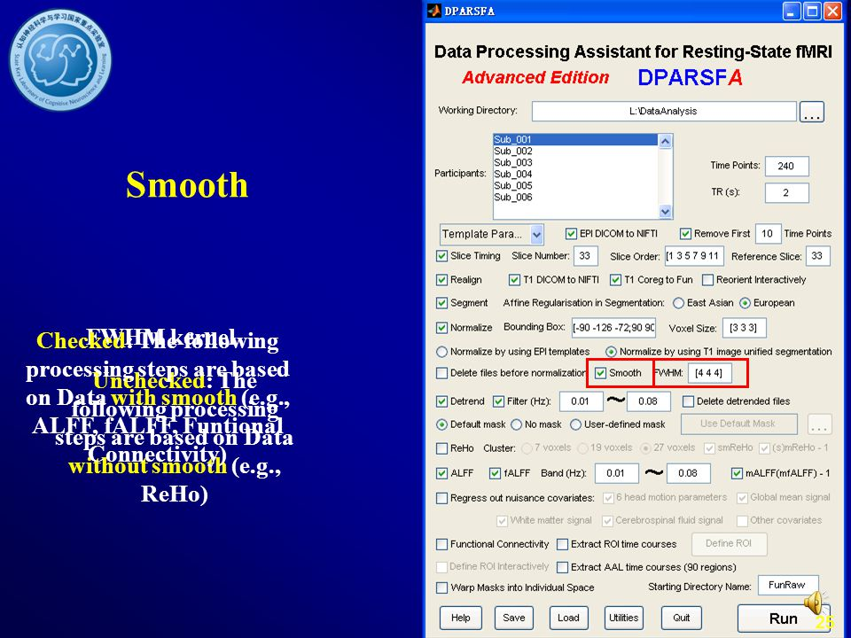 Smooth FWHM kernel. Checked: The following processing steps are based on Data with smooth (e.g., ALFF, fALFF, Funtional Connectivity)