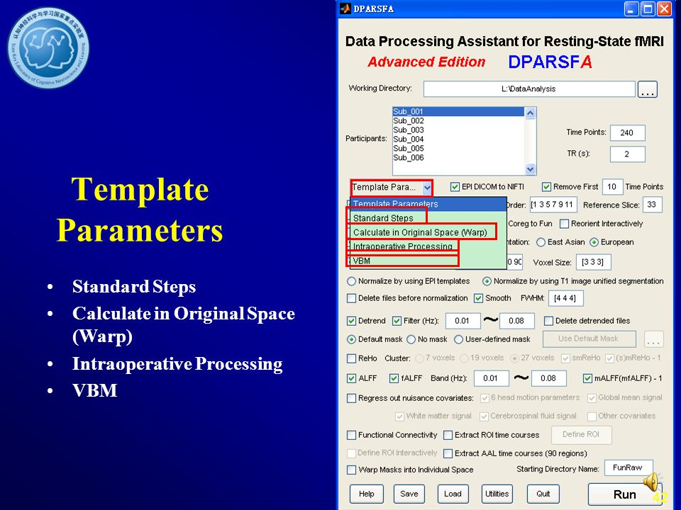 Template Parameters Standard Steps Calculate in Original Space (Warp)