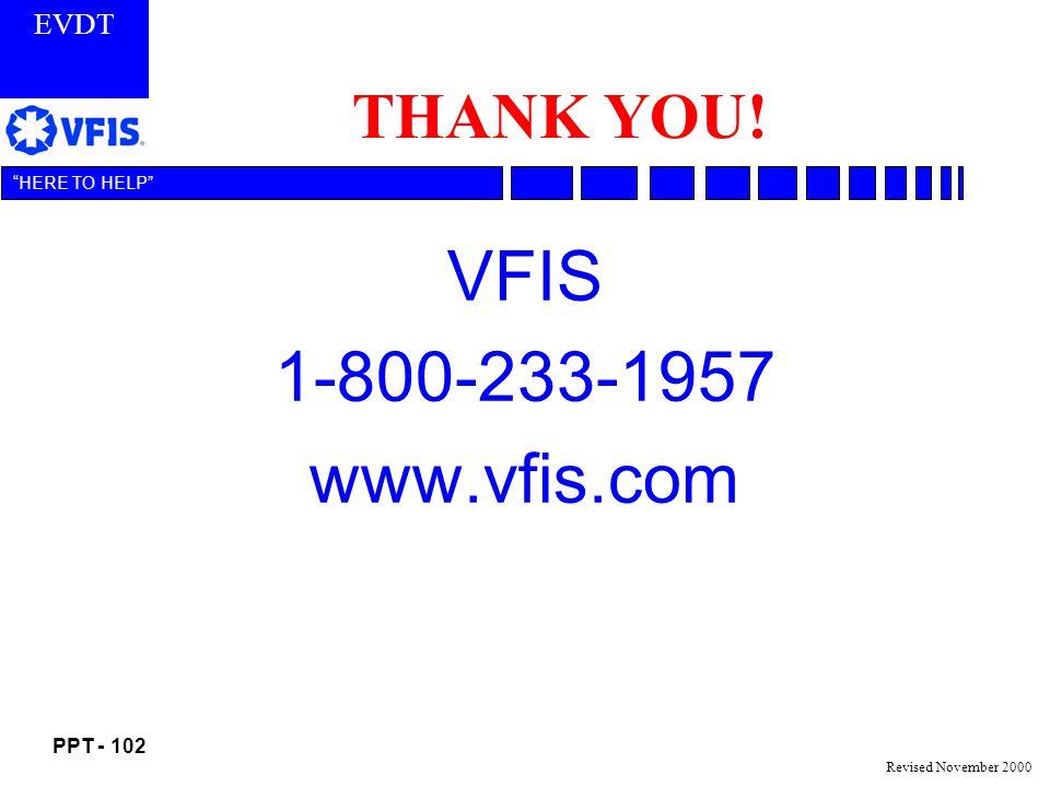THANK YOU! VFIS 1-800-233-1957 www.vfis.com