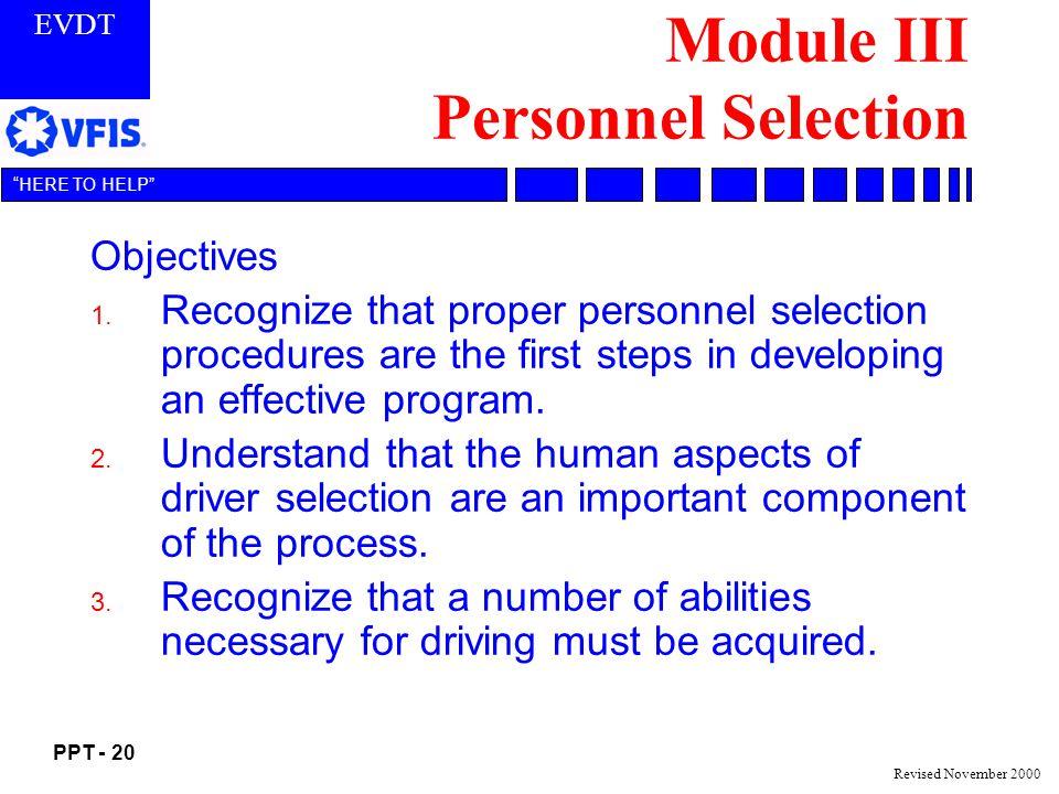 Module III Personnel Selection