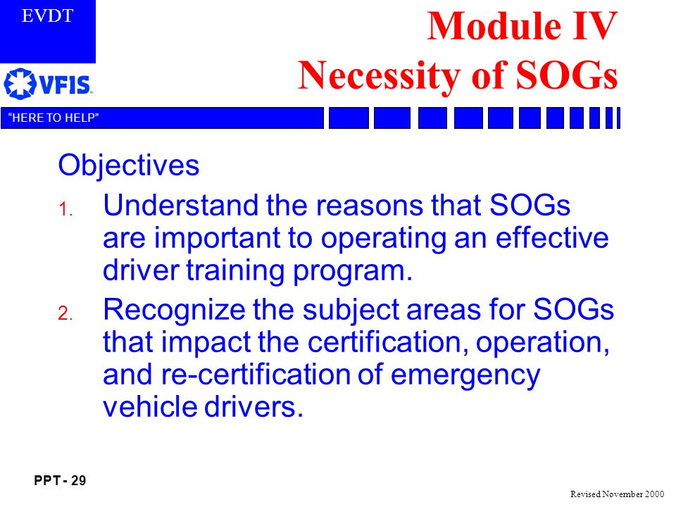 Module IV Necessity of SOGs