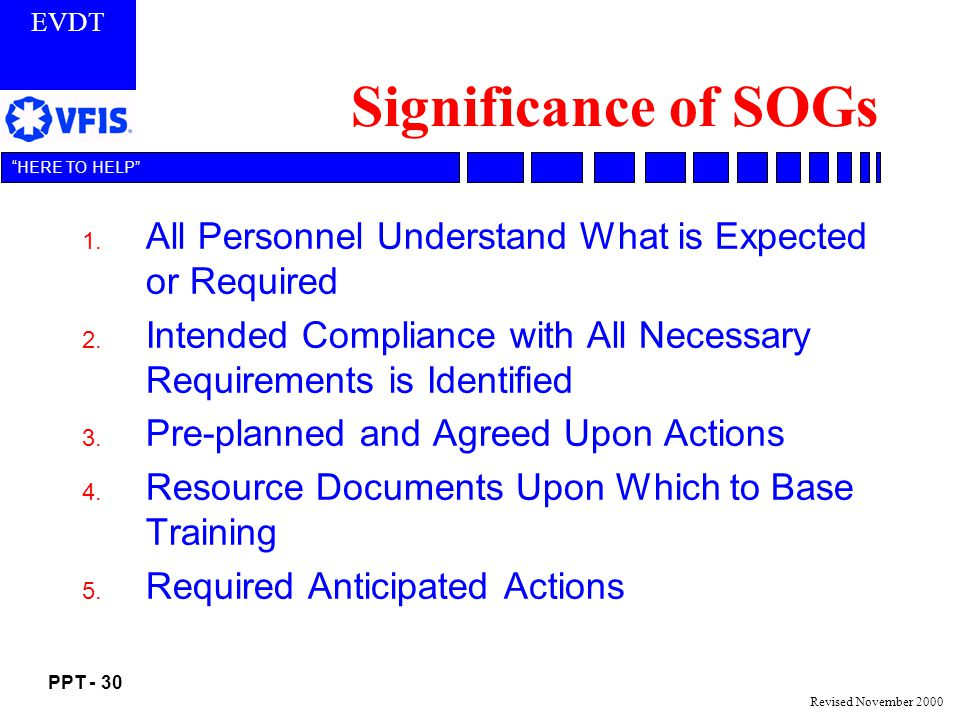 Significance of SOGs All Personnel Understand What is Expected or Required. Intended Compliance with All Necessary Requirements is Identified.