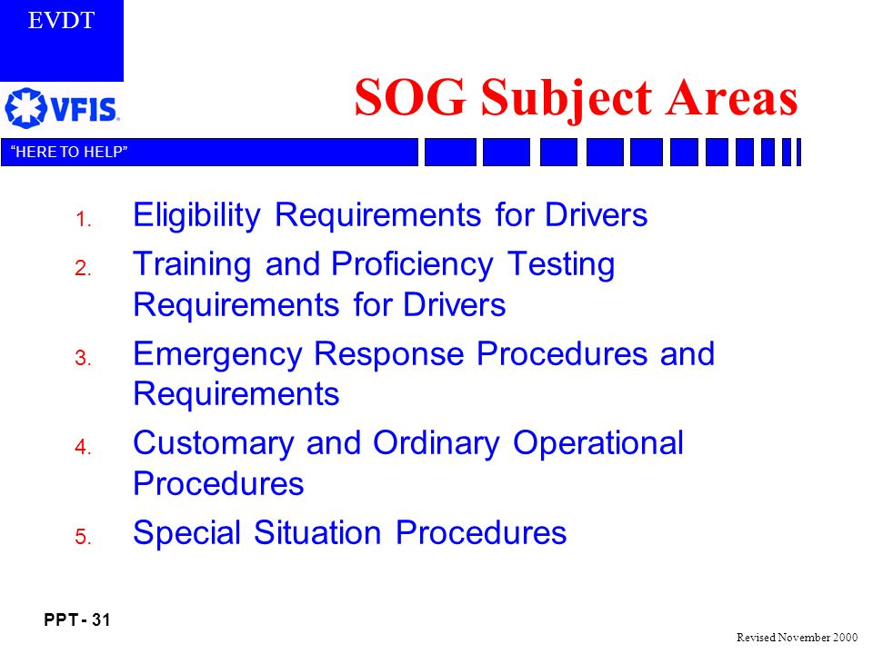 SOG Subject Areas Eligibility Requirements for Drivers