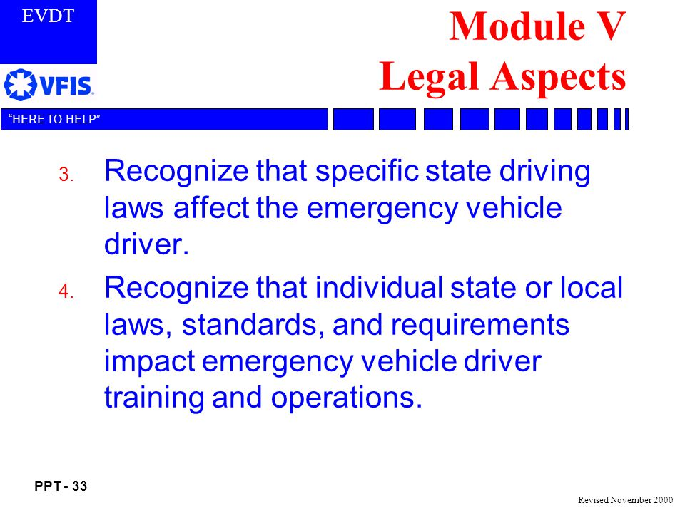 Module V Legal Aspects Recognize that specific state driving laws affect the emergency vehicle driver.