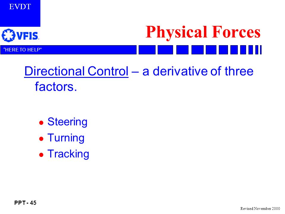 Physical Forces Directional Control – a derivative of three factors.