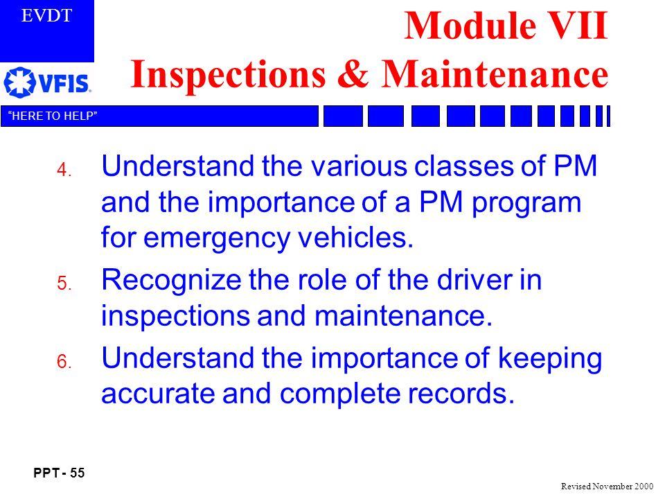 Module VII Inspections & Maintenance