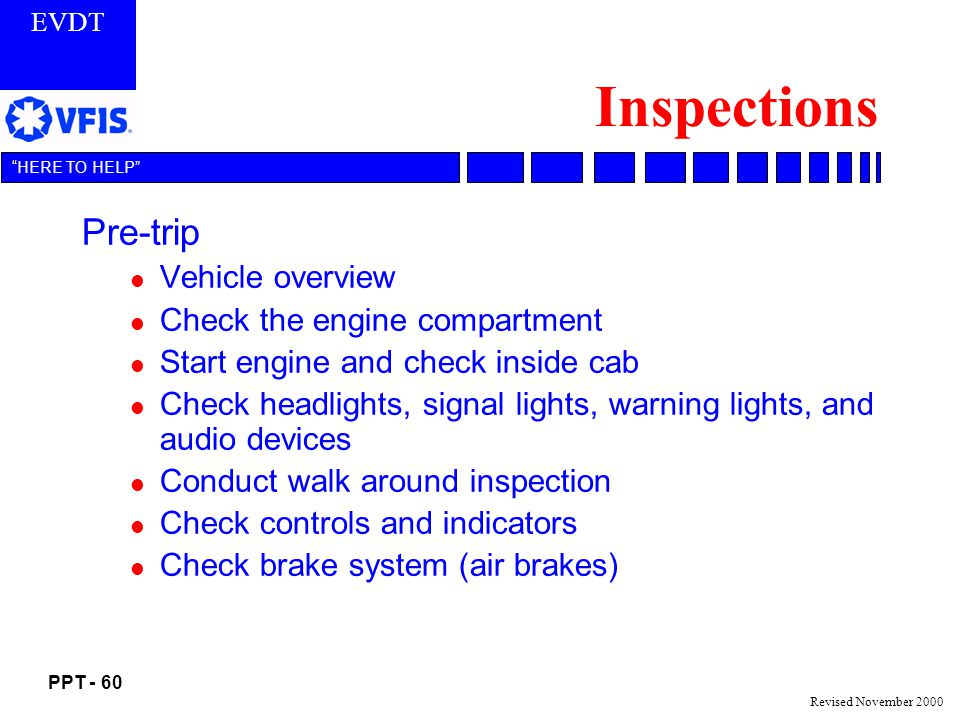 Inspections Pre-trip Vehicle overview Check the engine compartment