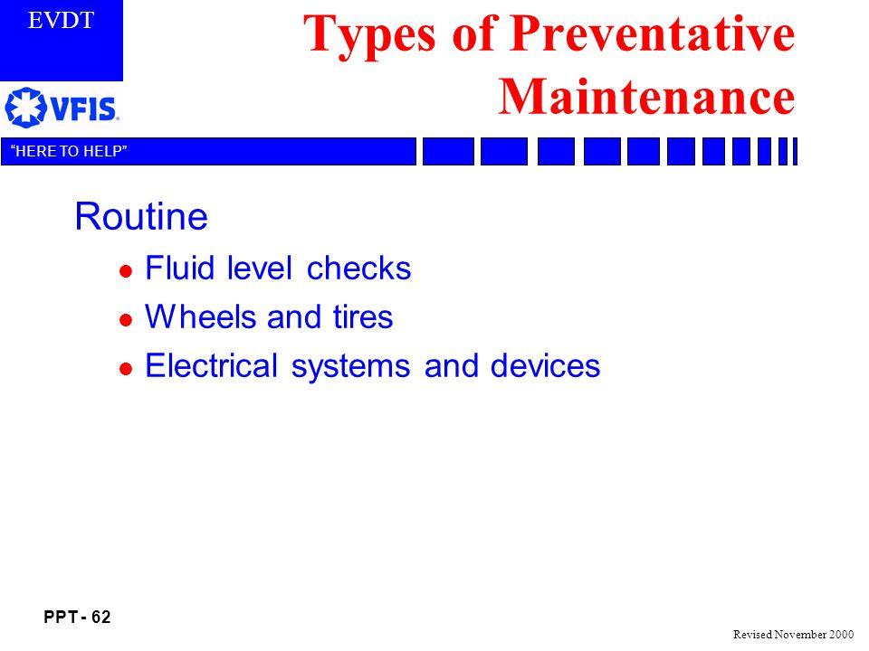 Types of Preventative Maintenance