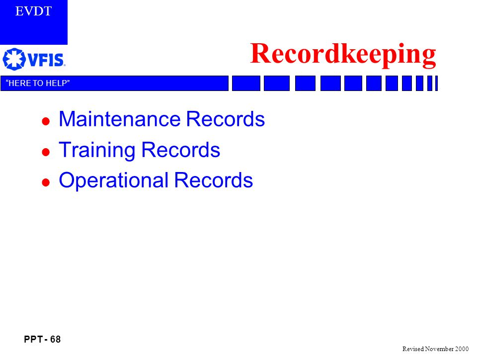 Recordkeeping Maintenance Records Training Records Operational Records