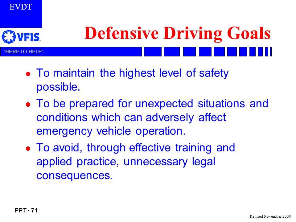 Defensive Driving Goals