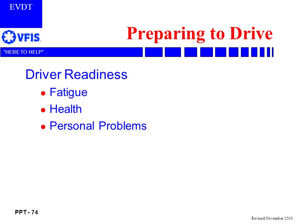 Preparing to Drive Driver Readiness Fatigue Health Personal Problems