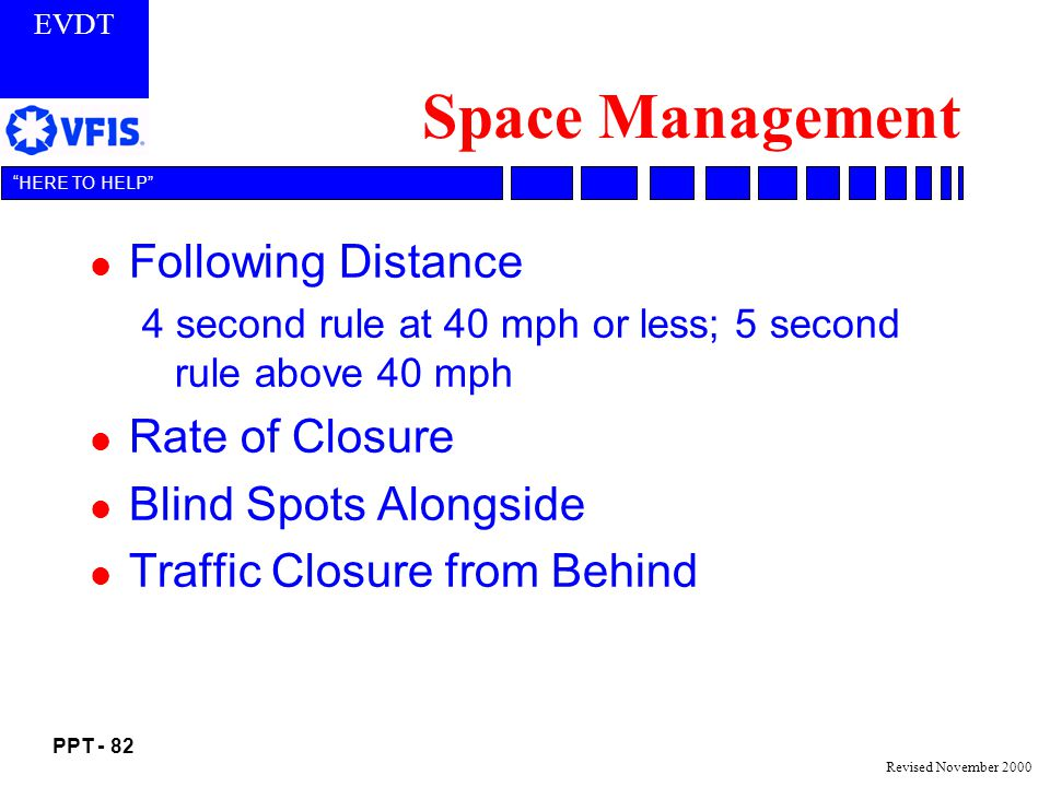 Space Management Following Distance Rate of Closure