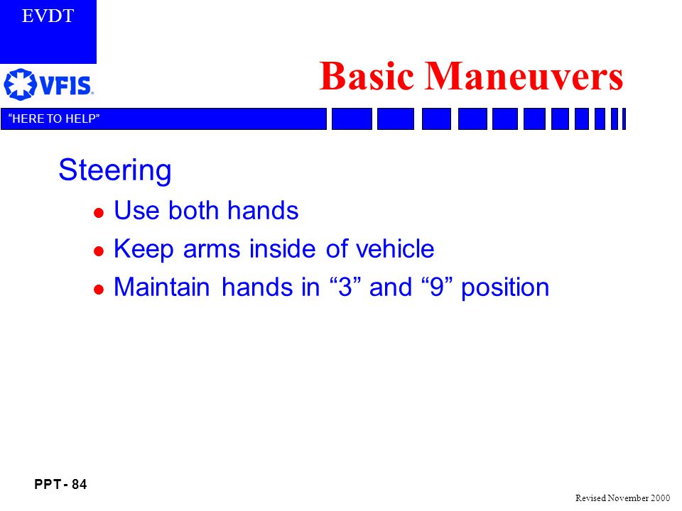 Basic Maneuvers Steering Use both hands Keep arms inside of vehicle