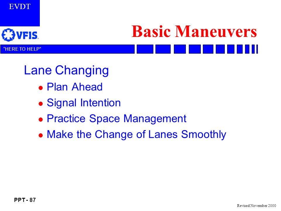 Basic Maneuvers Lane Changing Plan Ahead Signal Intention