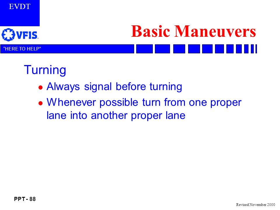 Basic Maneuvers Turning Always signal before turning
