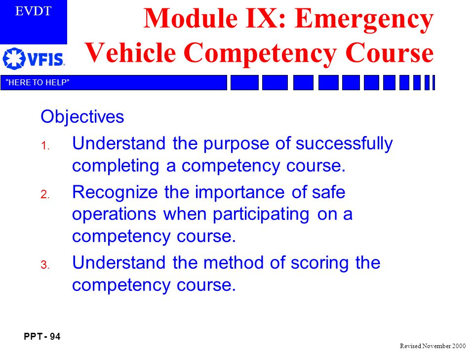 Module IX: Emergency Vehicle Competency Course