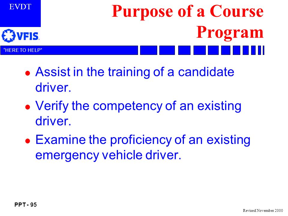 Purpose of a Course Program