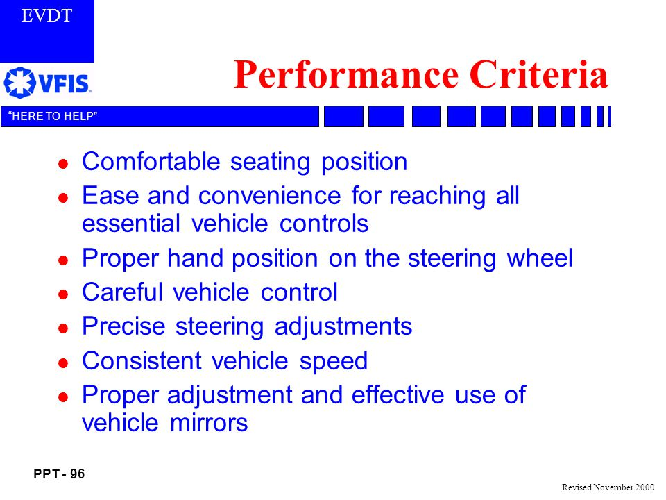 Performance Criteria Comfortable seating position