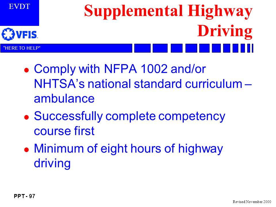 Supplemental Highway Driving