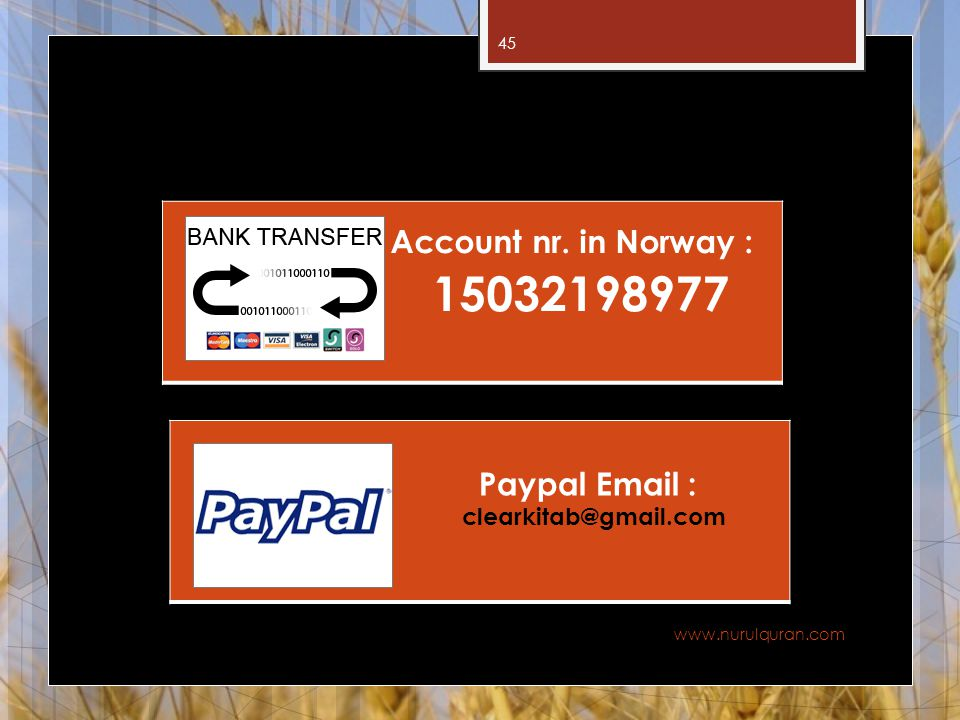 15032198977 Account nr. in Norway : Paypal Email :