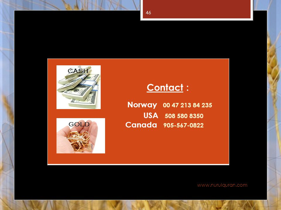 Contact : Norway 00 47 213 84 235 USA 508 580 8350 Canada 905-567-0822