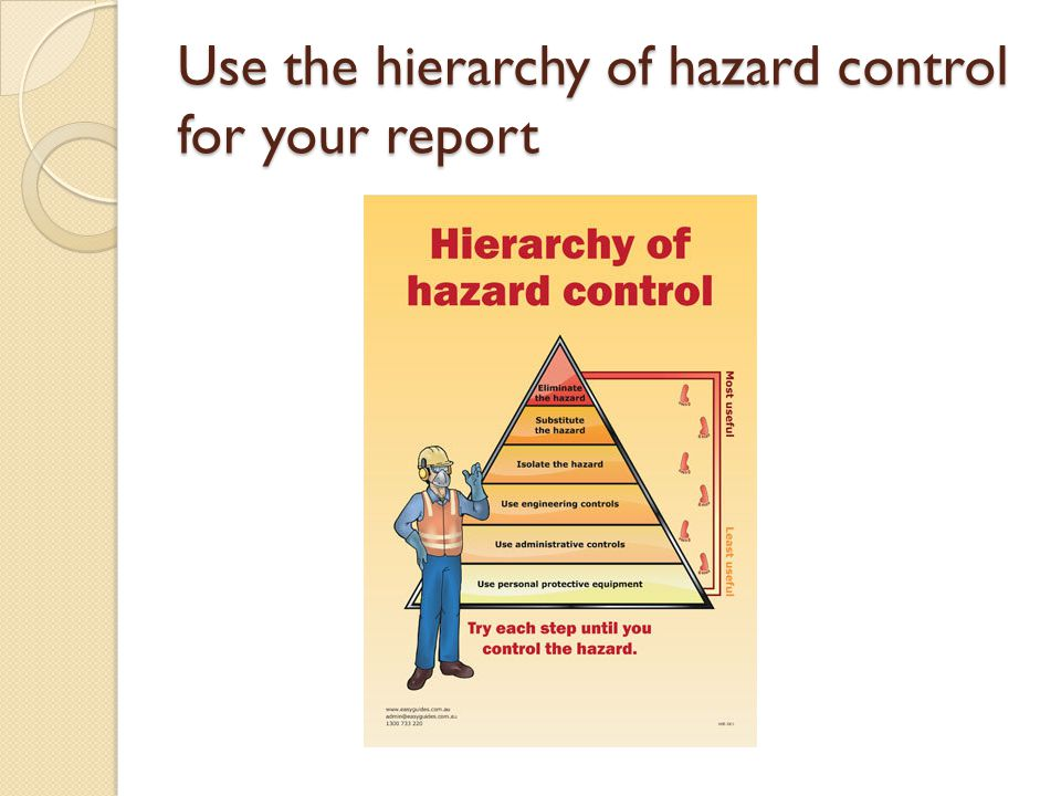 Use the hierarchy of hazard control for your report