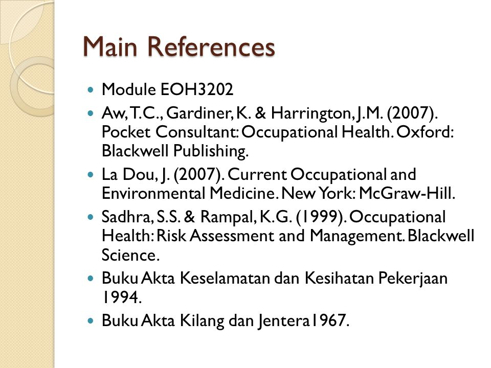 Main References Module EOH3202