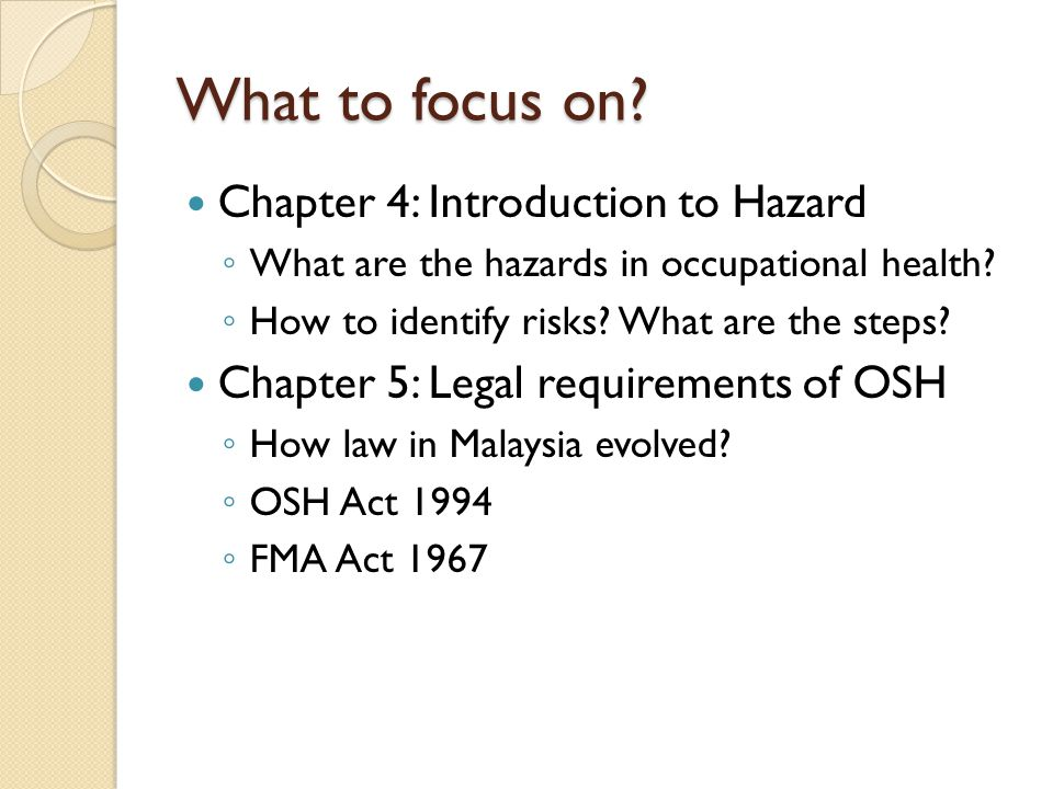 What to focus on Chapter 4: Introduction to Hazard