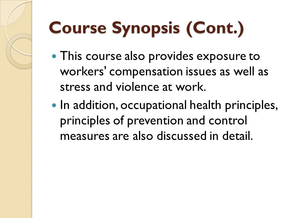 Course Synopsis (Cont.)