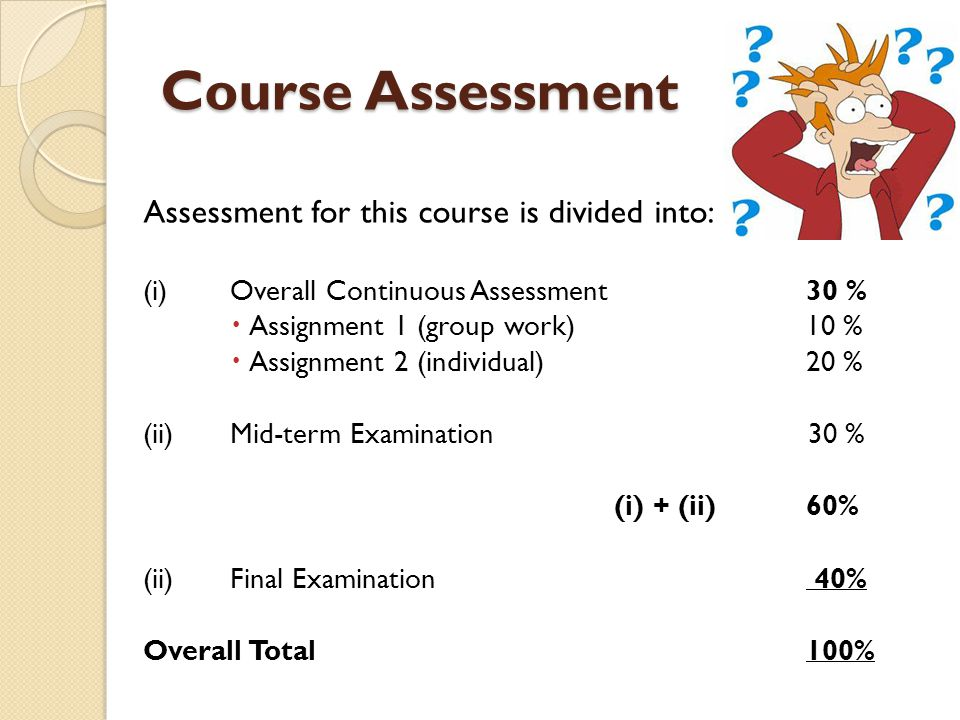 Course Assessment Assessment for this course is divided into: