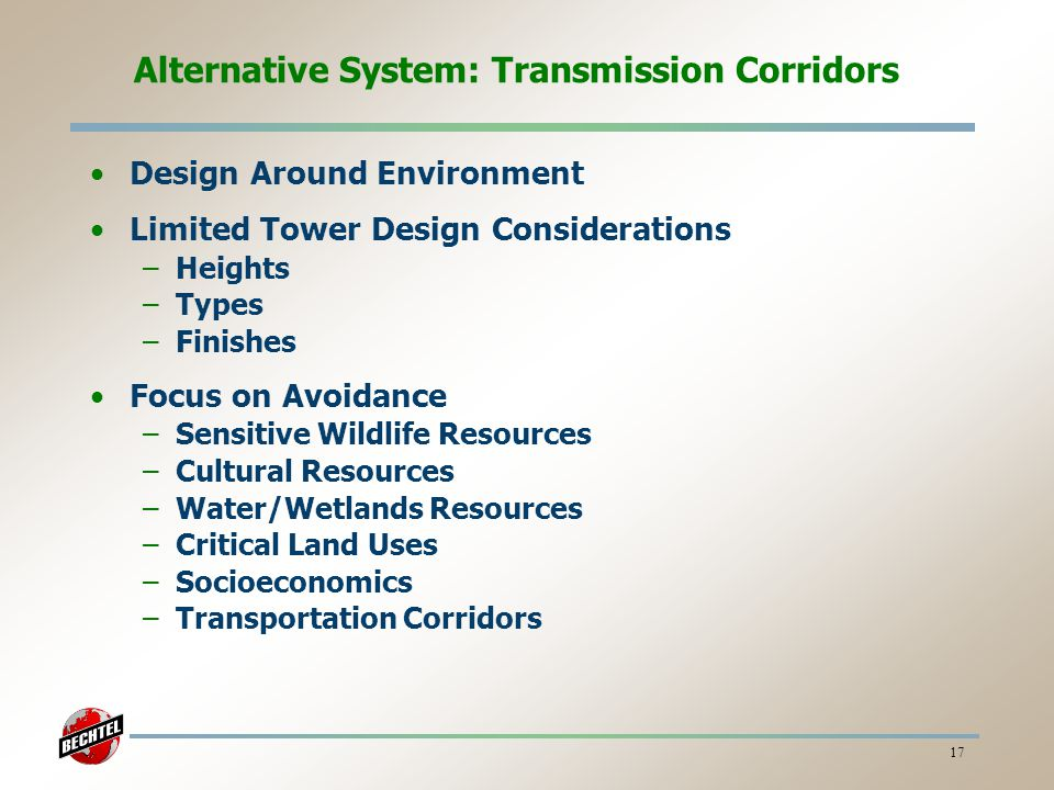 Alternative System: Transmission Corridors