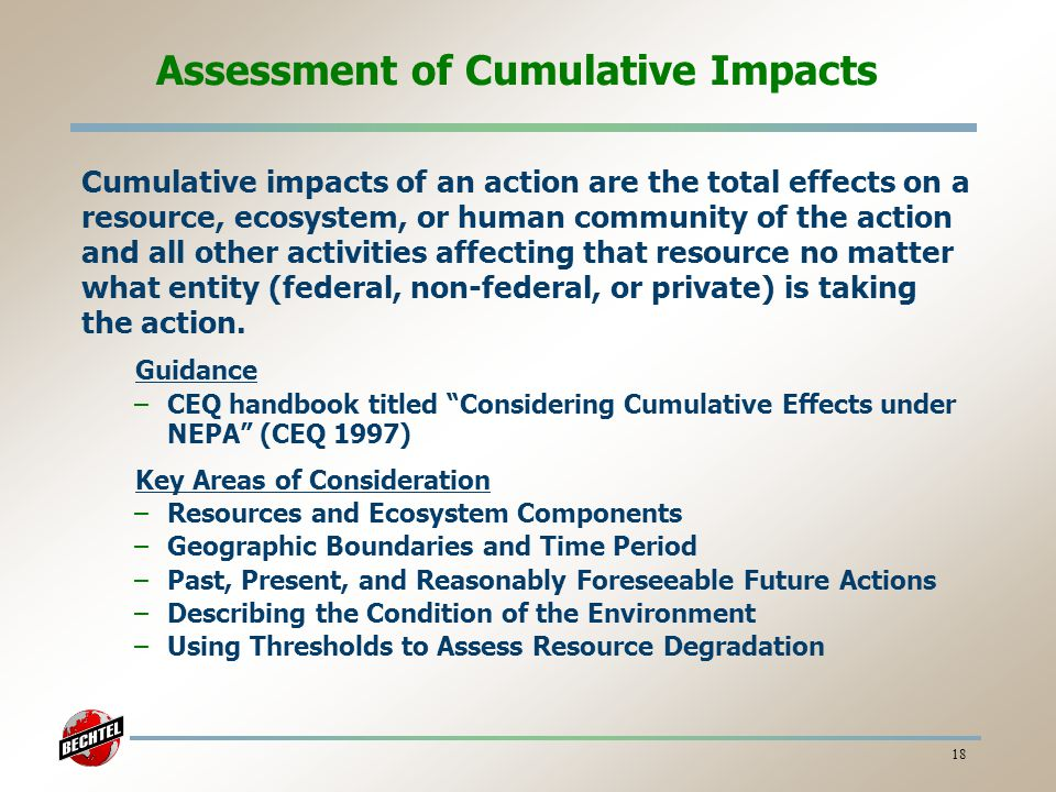 Assessment of Cumulative Impacts