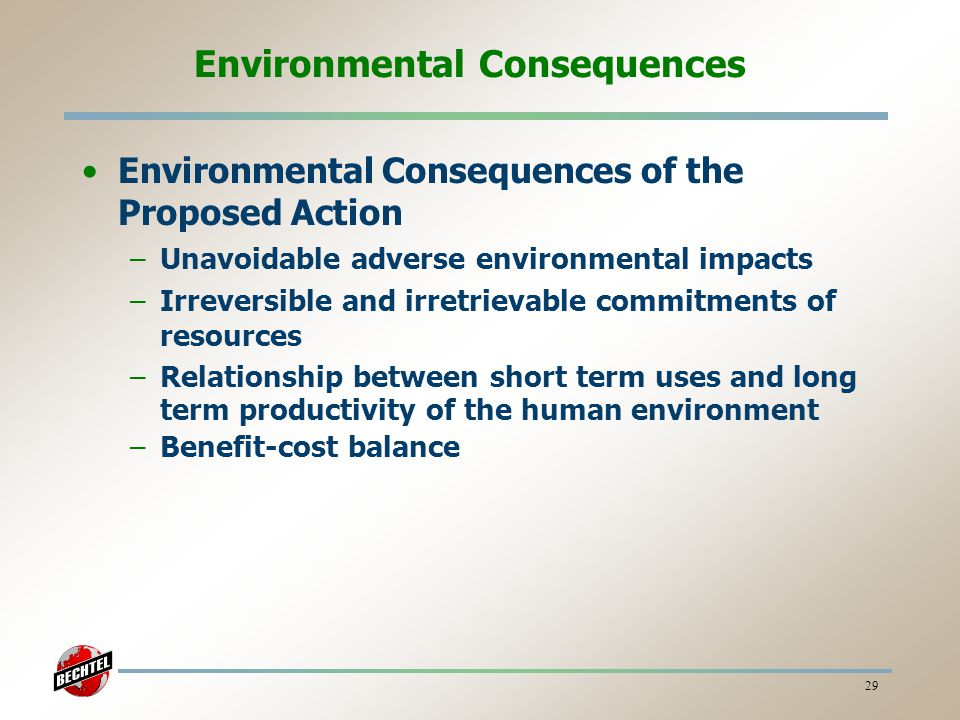 Environmental Consequences