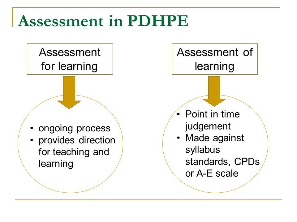 Assessment in PDHPE Assessment for learning Assessment of learning