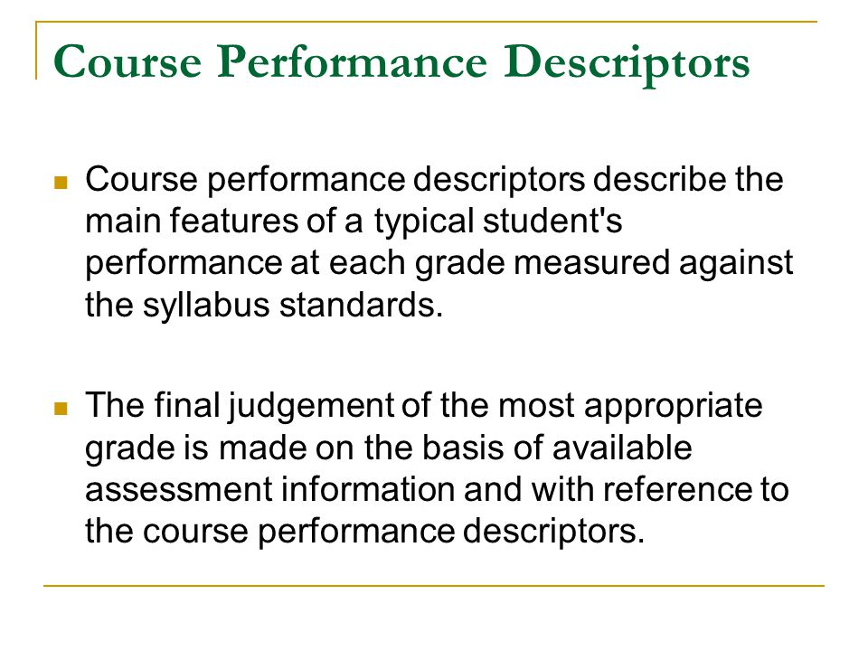 Course Performance Descriptors