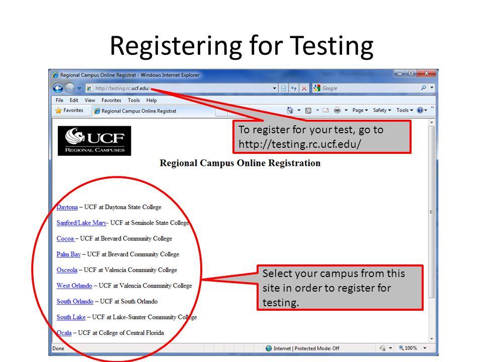 Registering for Testing