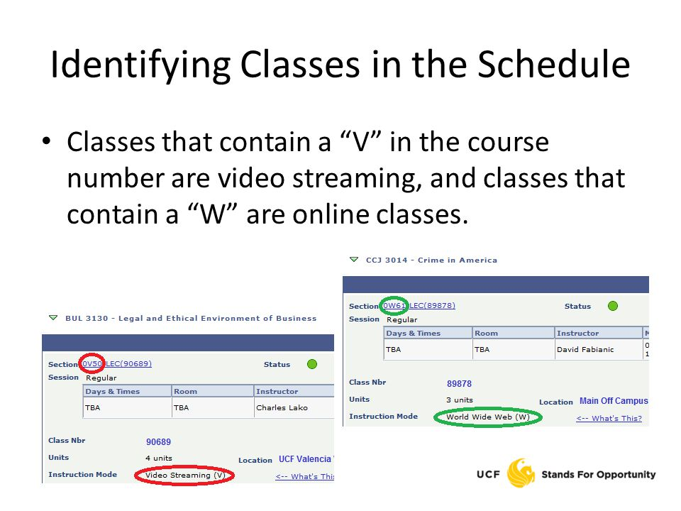 Identifying Classes in the Schedule