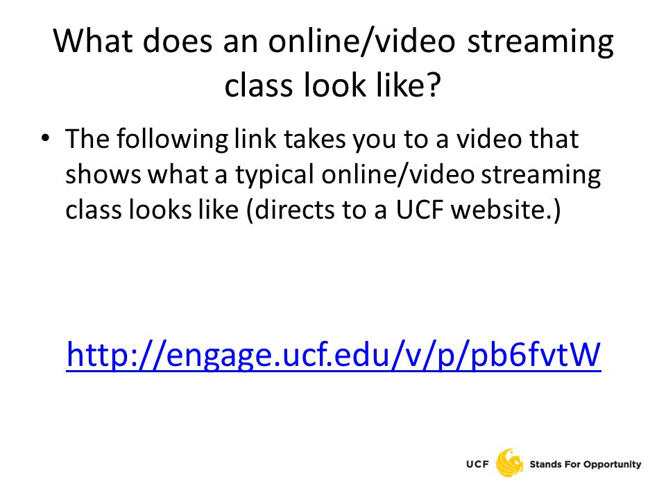 What does an online/video streaming class look like